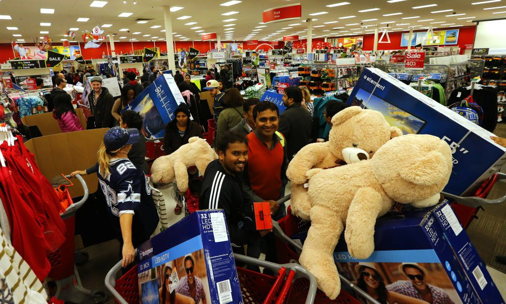 Guests take advantage of Target's Black Friday sales at the Jersey City, N.J. store Thursday, Nov. 26, 2015.