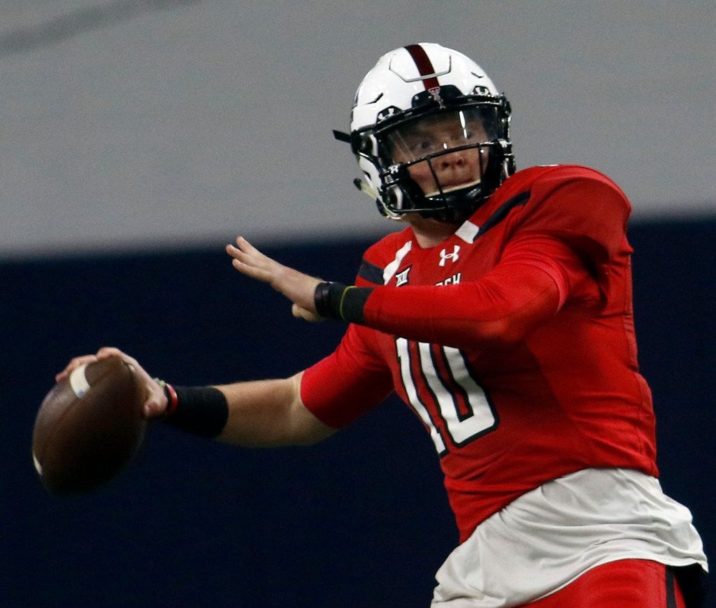 Texas Tech quarterback Alan Bowman (10) launches a long pass which resulted in a touchdown catch by receiver Dalton Ridgon during first half play. The annual spring game for the Texas Tech football program was held at The Star in Frisco on April 13, 2019. (Steve Hamm/ Special Contributor)