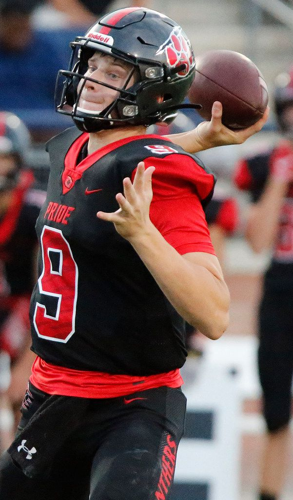 Colleyville Heritage High School quarterback AJ Smith (9) throws a pass during the first half as Colleyville Heritage High School hosted Lovejoy High School as part of the Tom Landry Classic at Eagle Stadium in Allen on Saturday, August 31, 2019. (Stewart F. House/Special Contributor)