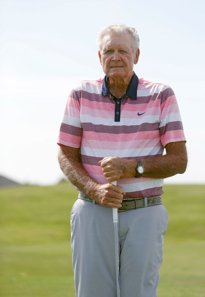 Ray Hibler poses for a portrait at Wildhorse Golf Club in Denton. Hibler, now 88, broke his age by 16 strokes at Wildhorse Golf Club in June when he was 87.