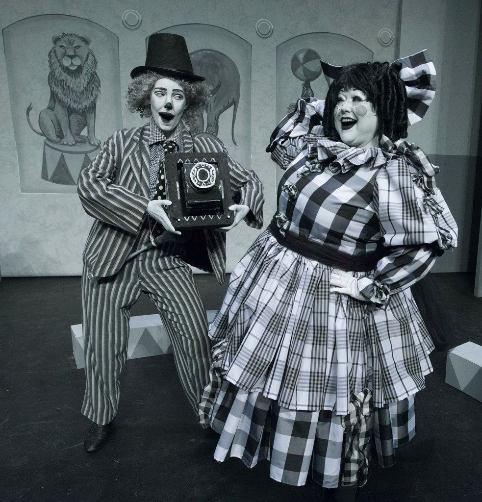 """Alex Moore (left) and Shelia Rose as """"Bingo"""" and """"Stitches Moroni""""  in Pegasus Theatre's Clowning Around With Murder!  at Eisemann Center in Richardson."""