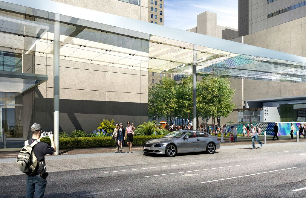 A computer rendering shows a conceptual view of AT&T's new visitor drop off area on Commerce St., part of a $100 million make over of its downtown Dallas headquarters.