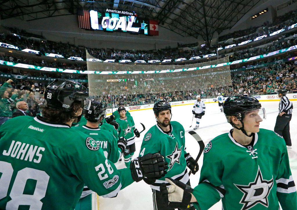 The Stars celebrate a second-period goal during the San Jose Sharks vs. the Dallas Stars NHL hockey game at the American Airlines Center in Dallas on Friday, March 24, 2017. (Louis DeLuca/The Dallas Morning News)
