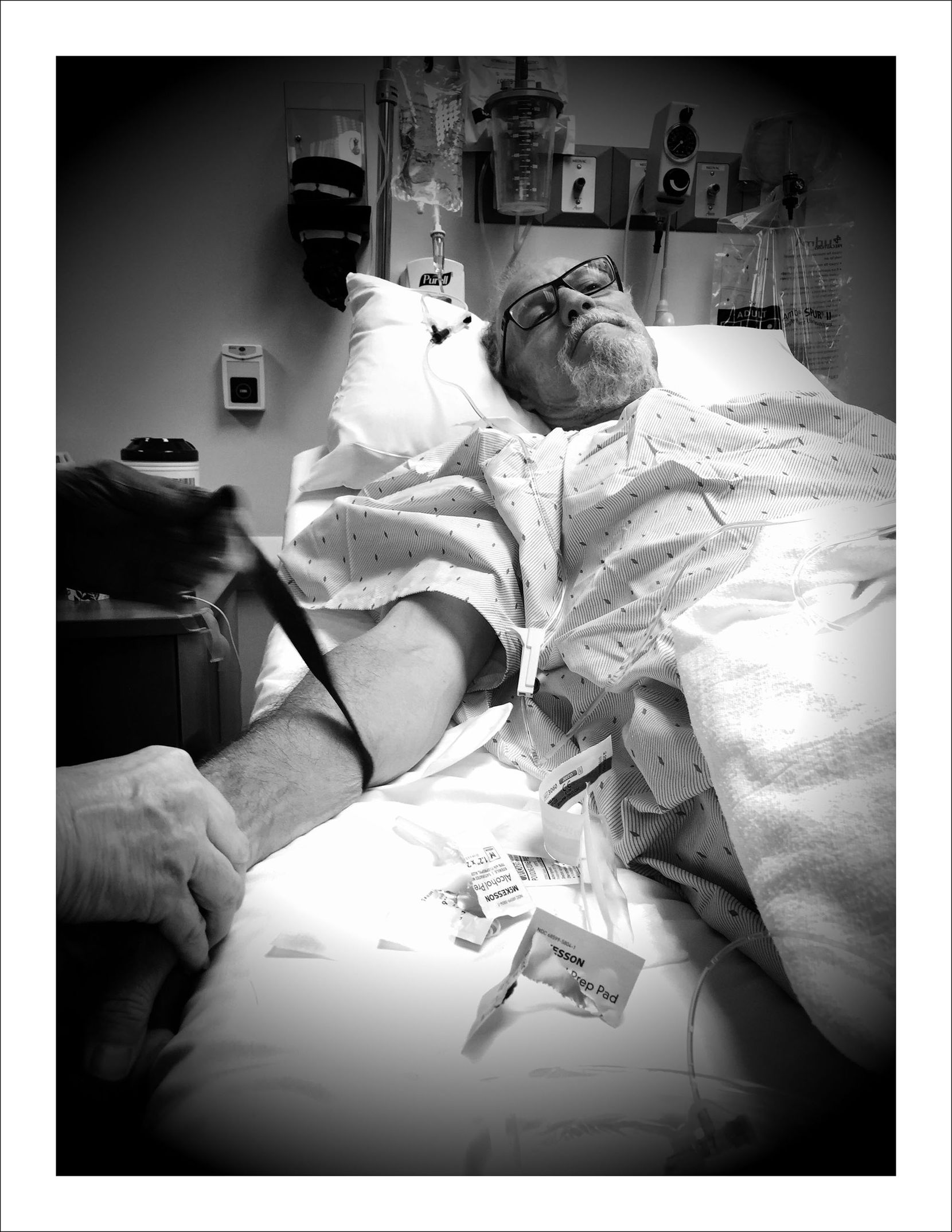 9/19/16 — IV time before port installation procedure. A tad difficult to shoot my ownself so Nancy was pressed into duty.