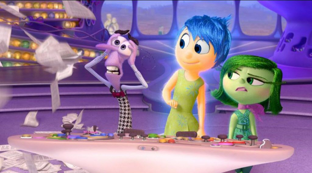 """A scene from """"Inside Out"""" showing Anger, from left, (voiced by Lewis Black), Joy (Amy Poehler) and Disgust (Mindy Kaling)."""