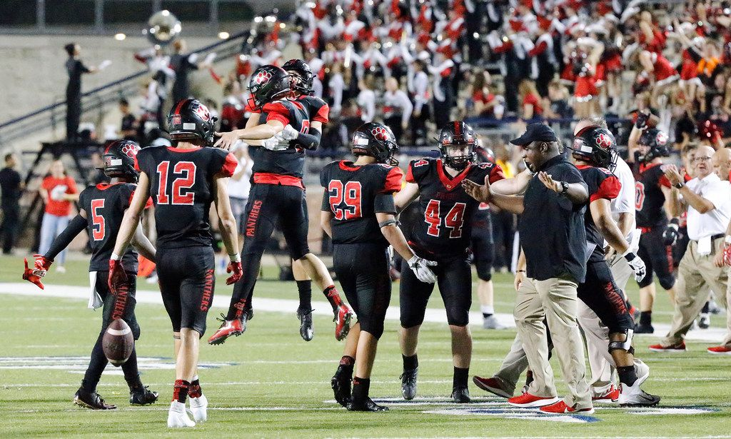Colleyville Heritage reacts as they hang on to win by three points as Colleyville Heritage High School hosted Lovejoy High School as part of the Tom Landry Classic at Eagle Stadium in Allen on Saturday, August 31, 2019. (Stewart F. House/Special Contributor)