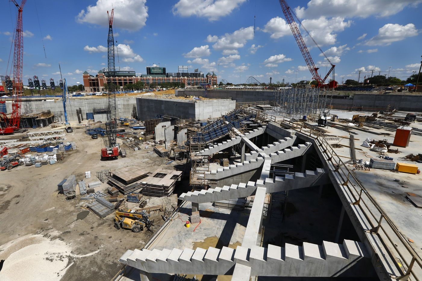 The right field seating supports are in place at the new Globe Life Field under construction in Arlington, Texas, Tuesday, September 18, 2018. The Texas Rangers celebrated the One Million Man Hours by providing a barbecue launch for it's nearly 900 workers. Rangers baseball players joined manager Jeff Banister in handing out construction helmet stickers marking the occasion. They also signed autographs and posed for photos. (Tom Fox/The Dallas Morning News)