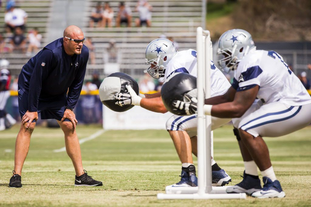 FILE - Dallas Cowboys offensive assistant coach Marc Colombo directs offensive linemen in a drill during morning practice at training camp on Tuesday, Aug. 11, 2015, in Oxnard, Calif. (Smiley N. Pool/The Dallas Morning News)