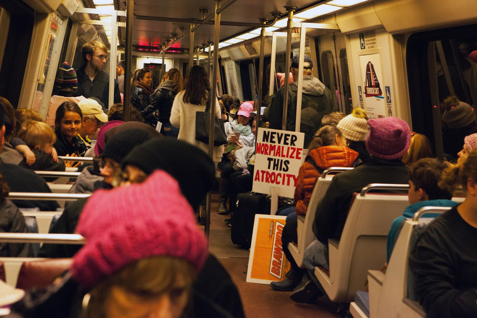A Washington D.C. Metro car carrying protesters leaving the Women's March on D.C. Saturday January 21, 2017.