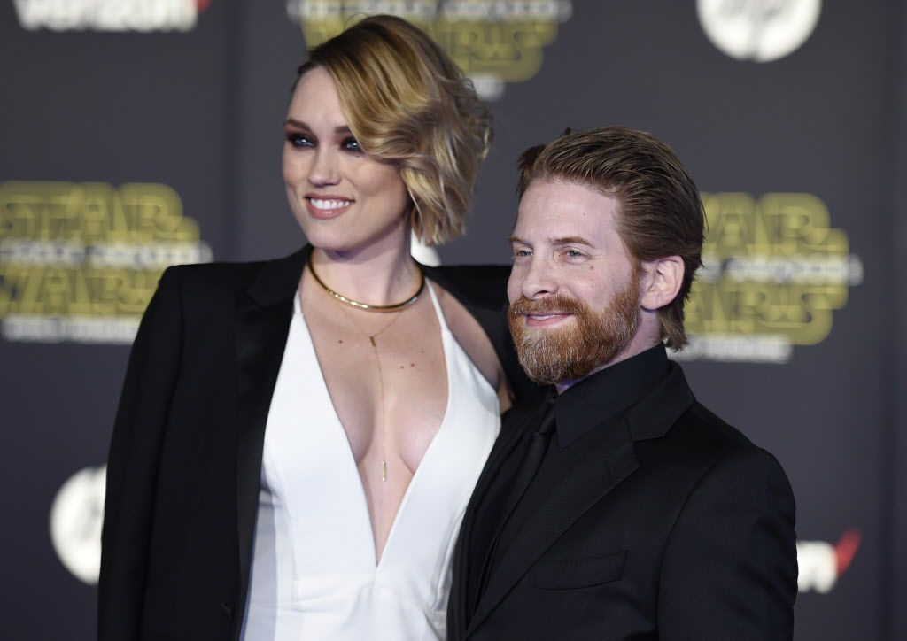"""Clare Grant, left, and Seth Green arrive at the world premiere of """"Star Wars: The Force Awakens"""" at the TCL Chinese Theatre on Monday, Dec. 14, 2015, in Los Angeles."""