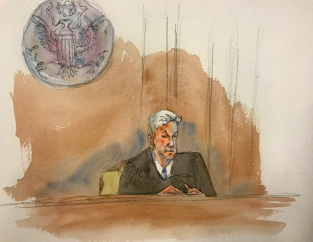 """In this courtroom sketch, Judge Richard M. Berman speaking as he denies Jeffrey Epstein bail during a hearing in federal court,  July 18, 2019 in New York. Berman denied bail for the jailed financier on sex trafficking charges, saying the danger to the community that would result if the jet-setting defendant were free formed the """"heart of this decision."""""""