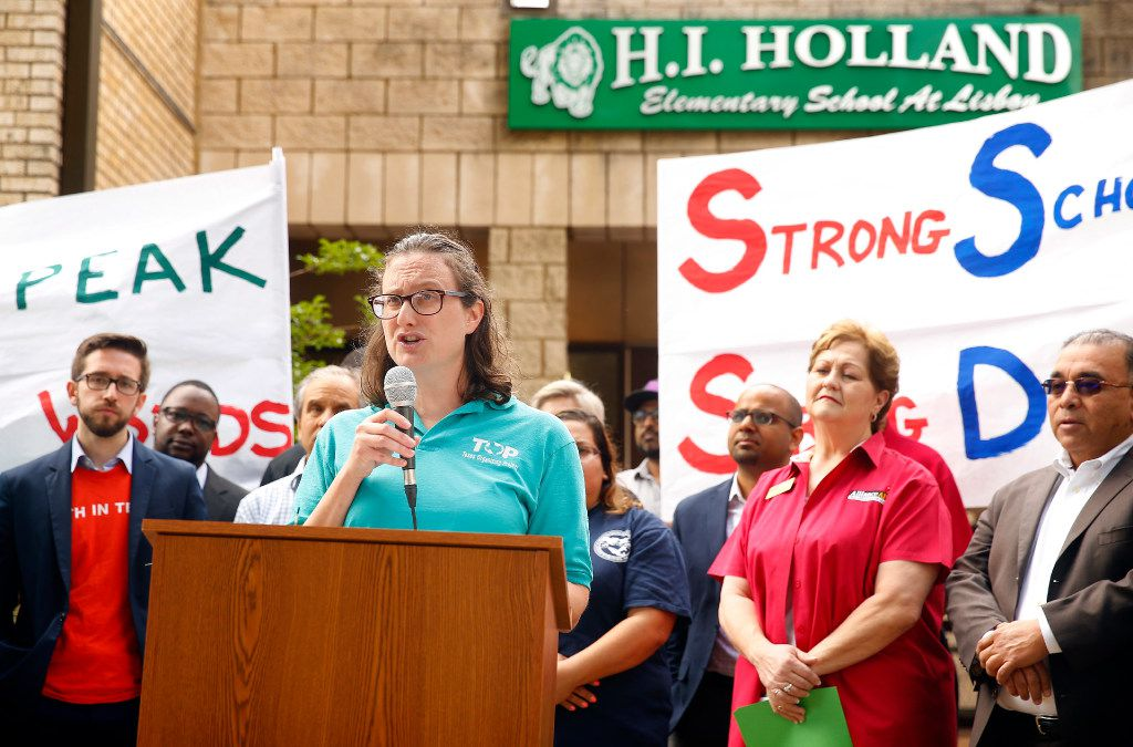 TOP (Texas Organizing Project) organizing director Allison Brim speaks to those gathered for a press conference announcing the launch of Strong Schools Strong Dallas coalition, a diverse group of North Texas organizations supporting a Tax Ratification Election (TRE).  The advocacy group seeks adequate funding to advance educational outcomes for Dallas Independent School District (DISD). The press conference was held at the Holland Elementary School in Dallas, Thursday, April 20, 2017. (Tom Fox/The Dallas Morning News)