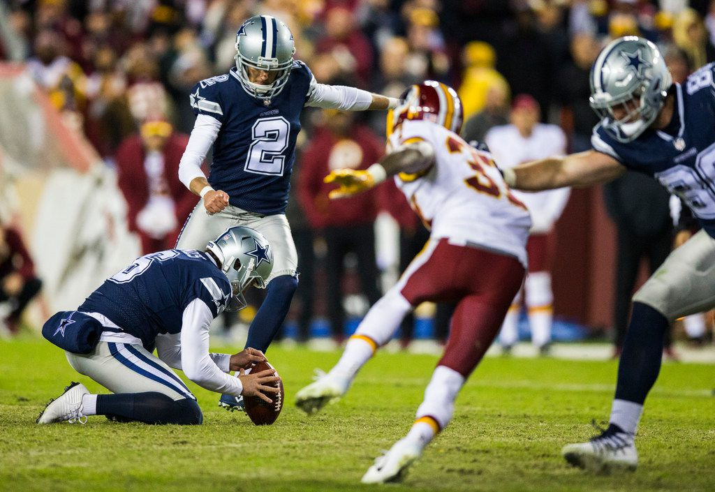 Dallas Cowboys kicker Brett Maher (2) attempts a field goal at the end of an NFL game between the Washington Redskins and the Dallas Cowboys on Sunday, October 21, 2018 in Landover, Maryland. The ball hit the pylon, bouncing out, resulting in a 20-17 loss to the Redskins.