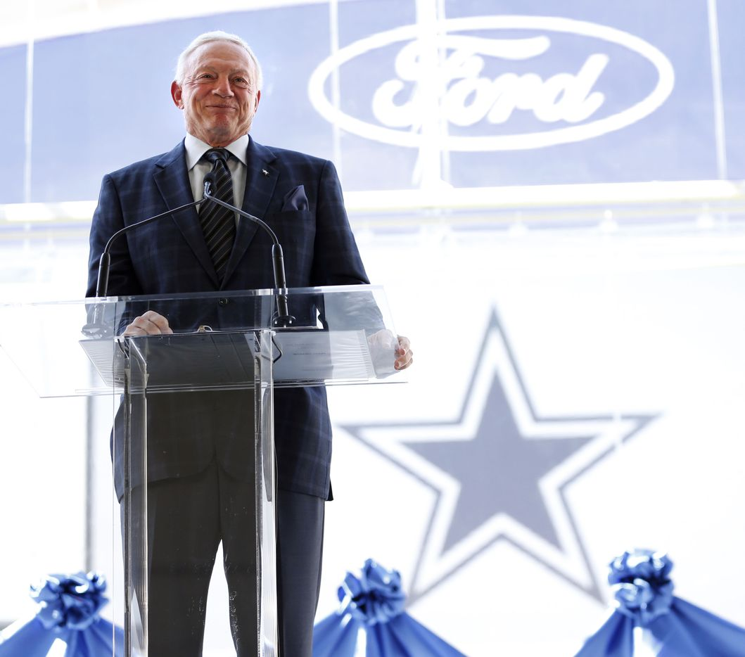 Dallas Cowboys owner and general manager Jerry Jones smiles as he speaks during the ribbon cutting ceremony at the Dallas Cowboys new headquarters at The Star in Frisco on Sunday, Aug. 21, 2016.