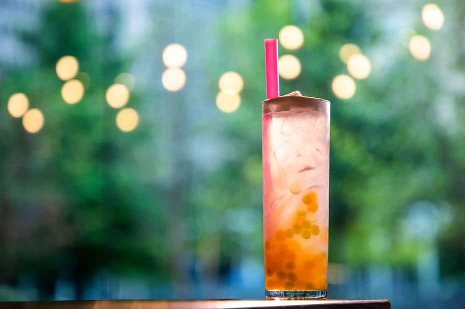 A cocktail called the Hidden Gem has boba pearls swimming in the bottom. Find it at Fine China at the Statler hotel in downtown Dallas.
