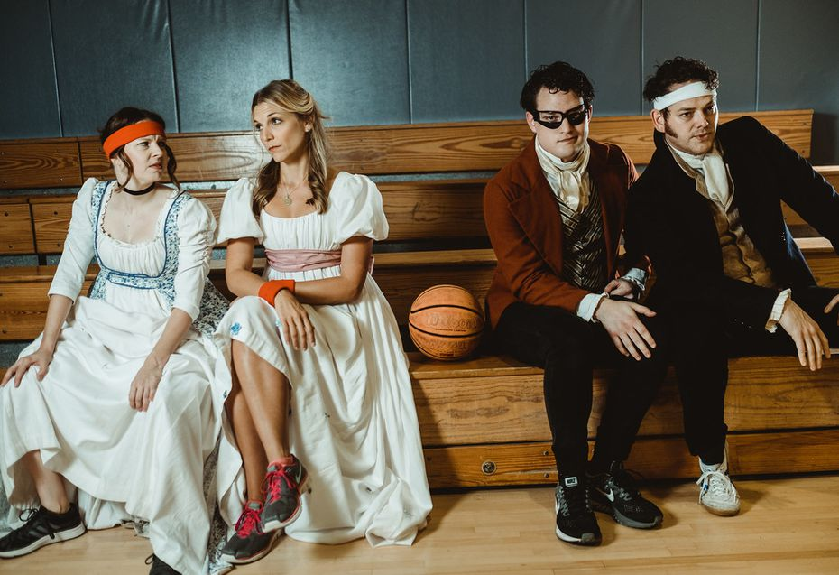 Jenny Ledel (left), Kate Paulsen, Justin Duncan and John-Michael Marrs in Pride and Prejudice, the regional premiere of Kate Hamill's adaptation of Jane Austen's novel, for WaterTower Theatre in Addison.