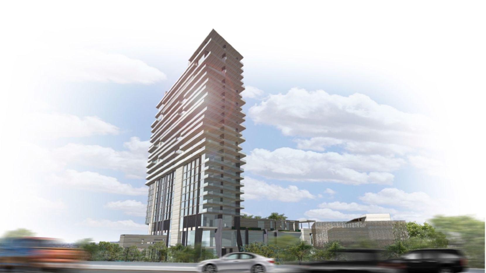 The 25-story tower is planned at the tollway and John Hickman Parkway.