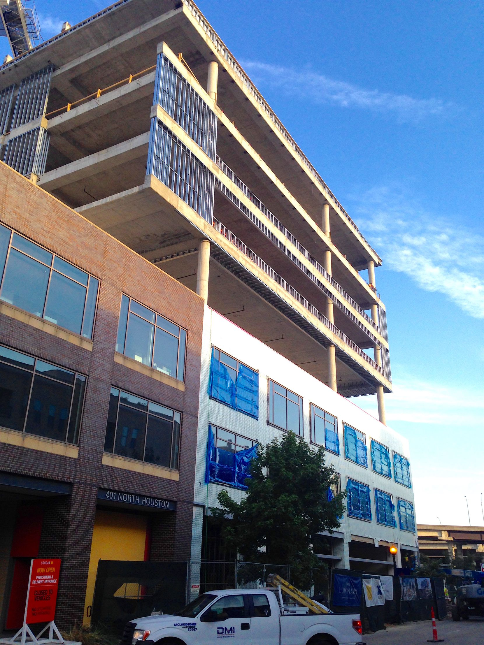 The new Luminary Building is under construction on Houston Street in downtown Dallas' West End.