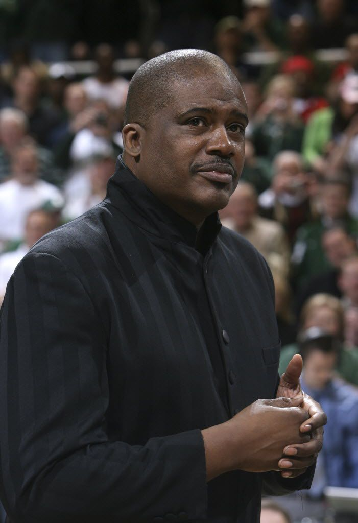 ORG XMIT: MIAG301 FILE - In this Feb. 22, 2009, Jay Vincent is shown as he joins members of Michigan State's 1979 NCAA championship basketball team during a ceremony commemorating the 30th anniversary of the championship during halftime of an NCAA college basketball game between Michigan State and Wisconsin, in East Lansing, Mich. On Thursday, Aug. 19, 2010, federal prosecutors in Michigan said Vincent was indicted on fraud and income tax charges as part of what the government described as a scheme to defraud about 20,000 jobseekers of about $2 million. (AP Photo/Al Goldis, File)