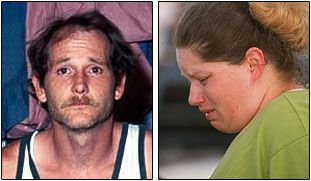 Kenneth Atkinson, left, and Barbara Atkinson on the day of their arrests, June 12, 2001. Lauren was rescued the previous night from their trailer in Hutchins.