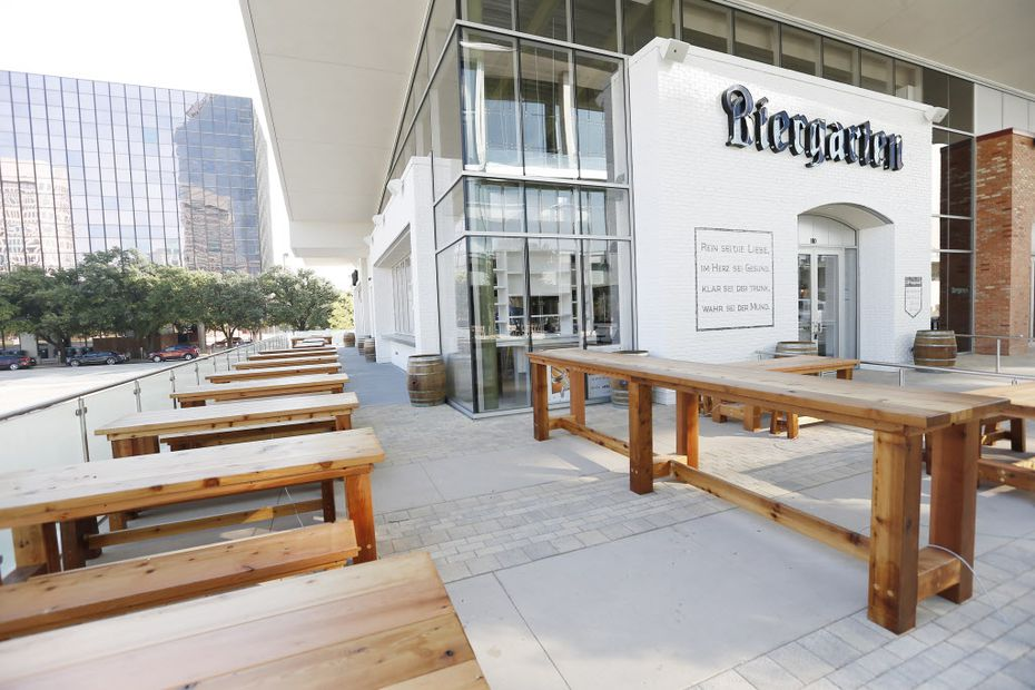 Biergarten on Lamar's patio seats more than 100 people. Soon, the owner hopes to have a bratwurst cart out there for beer drinkers who want a quick bite.