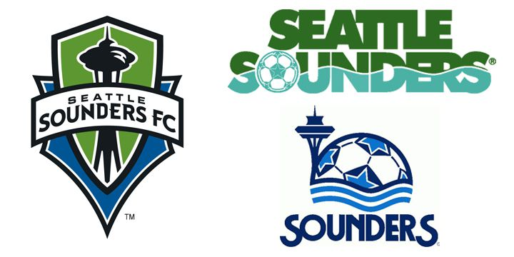 Seattle Sounders FC logos.