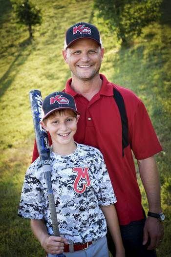 Caleb Schwab with his father, Scott Schwab