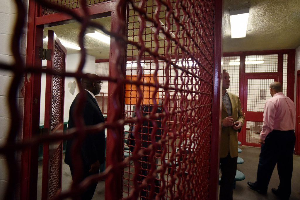 Dallas City Manager T.C. Broadnax, left, and Dallas City Council member Philip Kingston in one of the more secure areas of the old Dawson State Jail on the banks of the Trinity River (Ben Torres/Special Contributor)