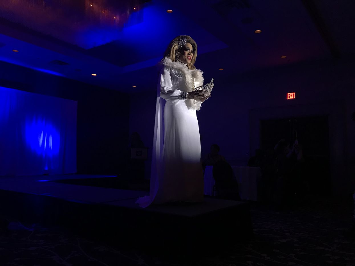 A contestant vying for the title of Miss Black Trans International 2018 appears onstage at the conference on April 26.