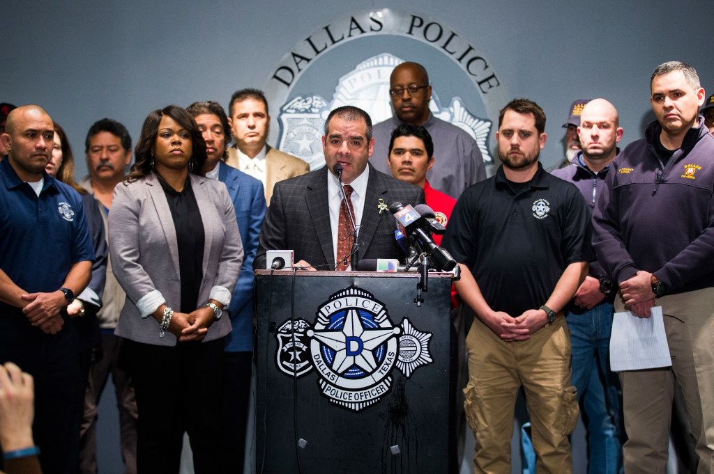 Dallas Police Sergeant Mike Mata, center, president of the Dallas Police Association, announces to the media that pension negotiations between police and fire associations and the city of Dallas have failed, on Thursday, January 26, 2017 at the Dallas Police Association headquarters in Dallas. (Ashley Landis/The Dallas Morning News)