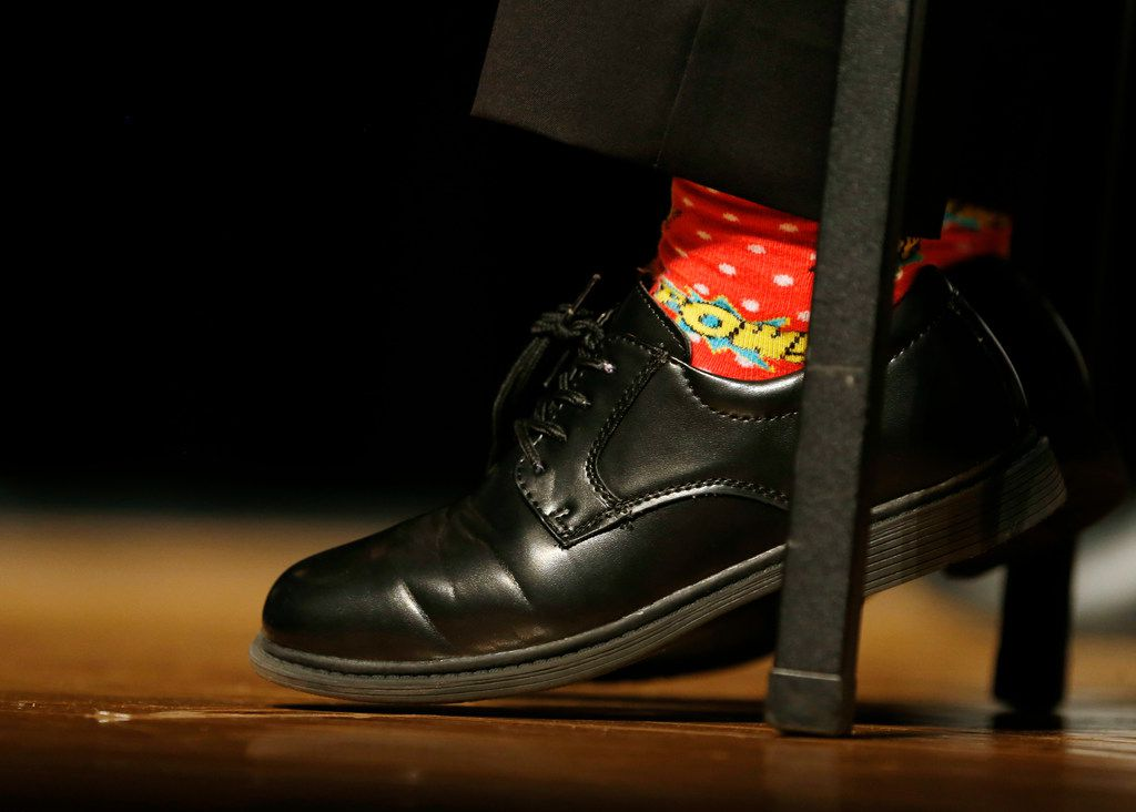 Fourth grader, Wesley Trent Stoker, of Harry C. Withers Elementary School sports power socks at the 26th Annual Gardere MLK Jr. Oratory Competition at W.H. Adamson High School in Dallas on Friday, January 12, 2018. (Vernon Bryant/The Dallas Morning News)