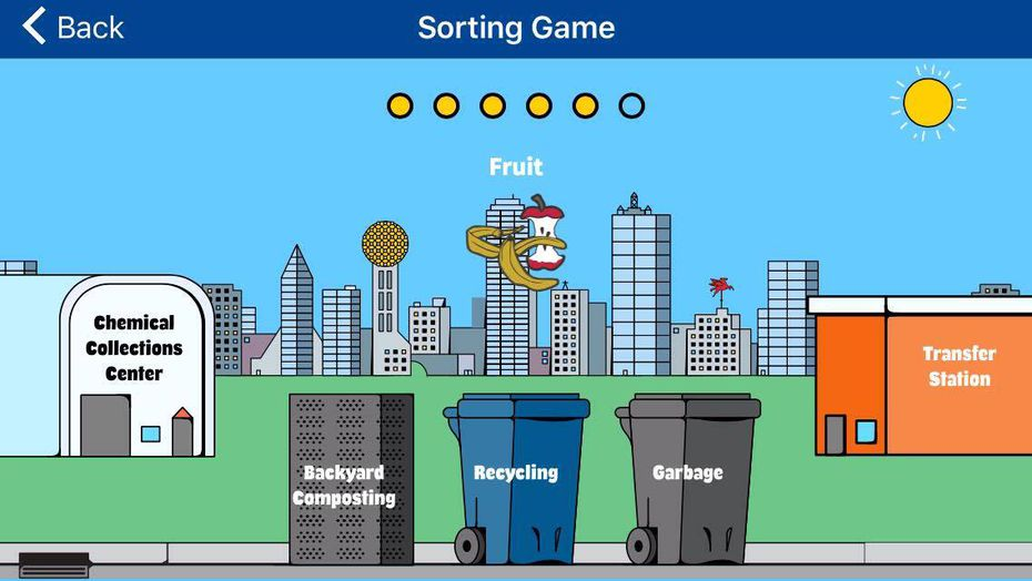 The sorting game inside the Dallas Sanitation Services app teaches users what materials are appropriate for backyard composting, recycling, garbage, or more.