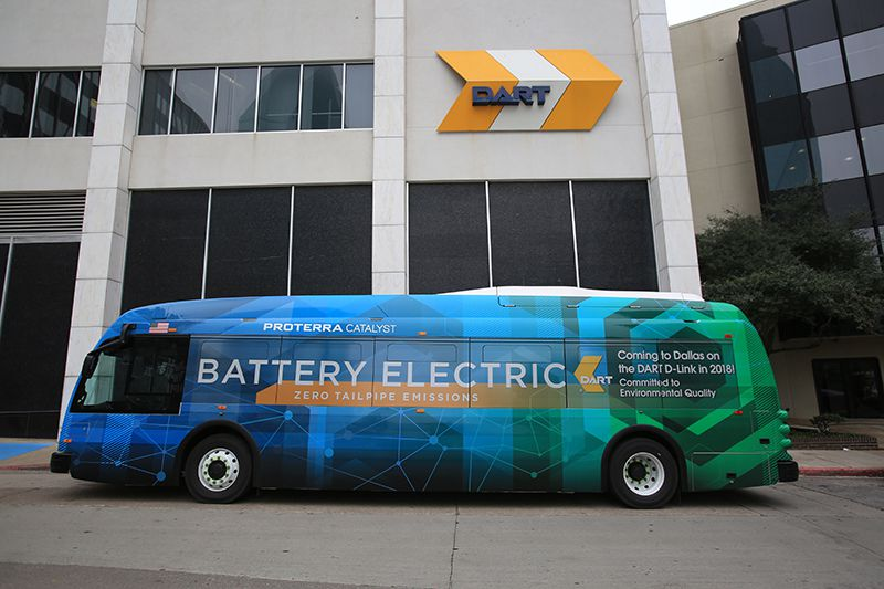 A prototype of the electric buses coming to Dallas for DART's D-Link