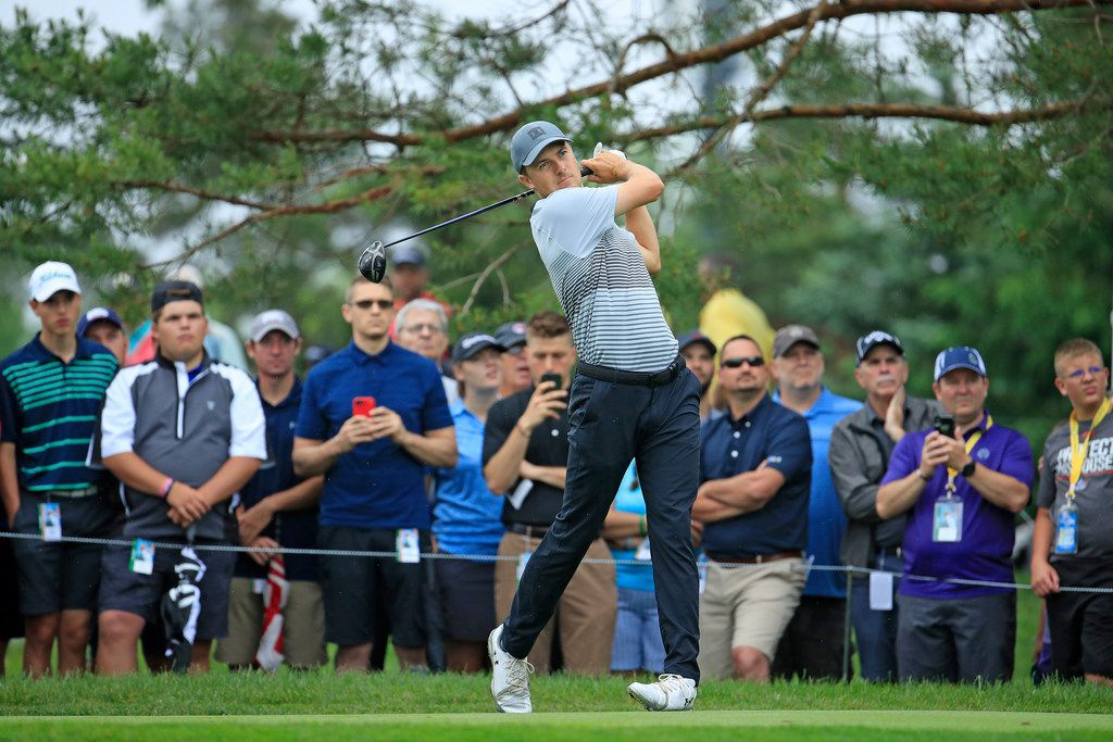 DUBLIN, OHIO - MAY 30: Jordan Spieth hits his tee shot on the 11th hole during the first round of The Memorial Tournament Presented by Nationwide at Muirfield Village Golf Club on May 30, 2019 in Dublin, Ohio. (Photo by Andy Lyons/Getty Images)
