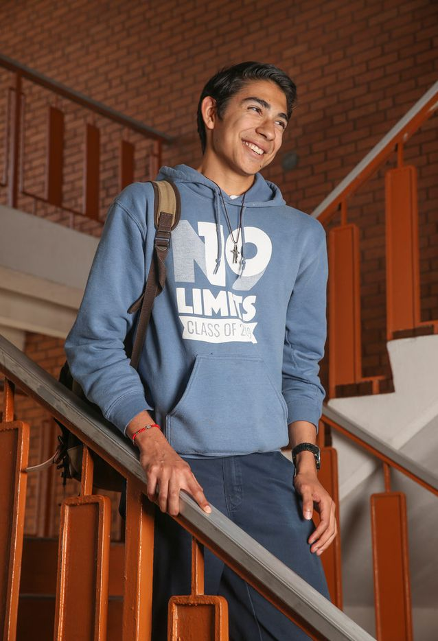 """Diego Zamarripa of Ciudad Juarez, Mexico, is a student at Lydia Patterson Institute in El Paso. """"I am an American citizen but I live in Ciudad Juarez, Mexico, with my family,"""" said Zamarripa, who is in 12th grade at the private Christian high school in El Paso's Segundo Barrio. """"I truly feel like I can find a better way by studying in El Paso. It's a better school that leads to better colleges, that leads to better careers and a better way to provide for a family."""" Eighty percent of the over 300 students at Lydia Patterson Institute live in Juarez and commute across the border to attend school."""