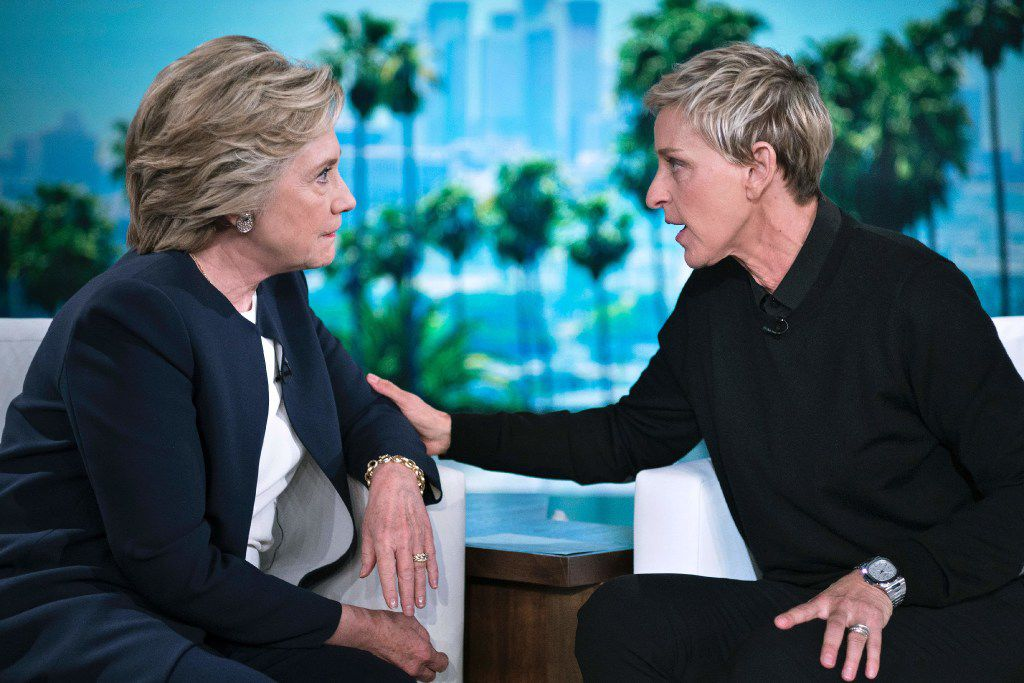 Democratic presidential candidate Hillary Clinton chatted with Ellen Degeneres during a commercial break at Thursday's taping of The Ellen Show in Burbank, Calif. Several new polls have shown a gender gap emerging among Hispanic voters: Women vote more and are moving strongly in Clinton's direction. (Brendan Smialowski/Agence France-Presse)