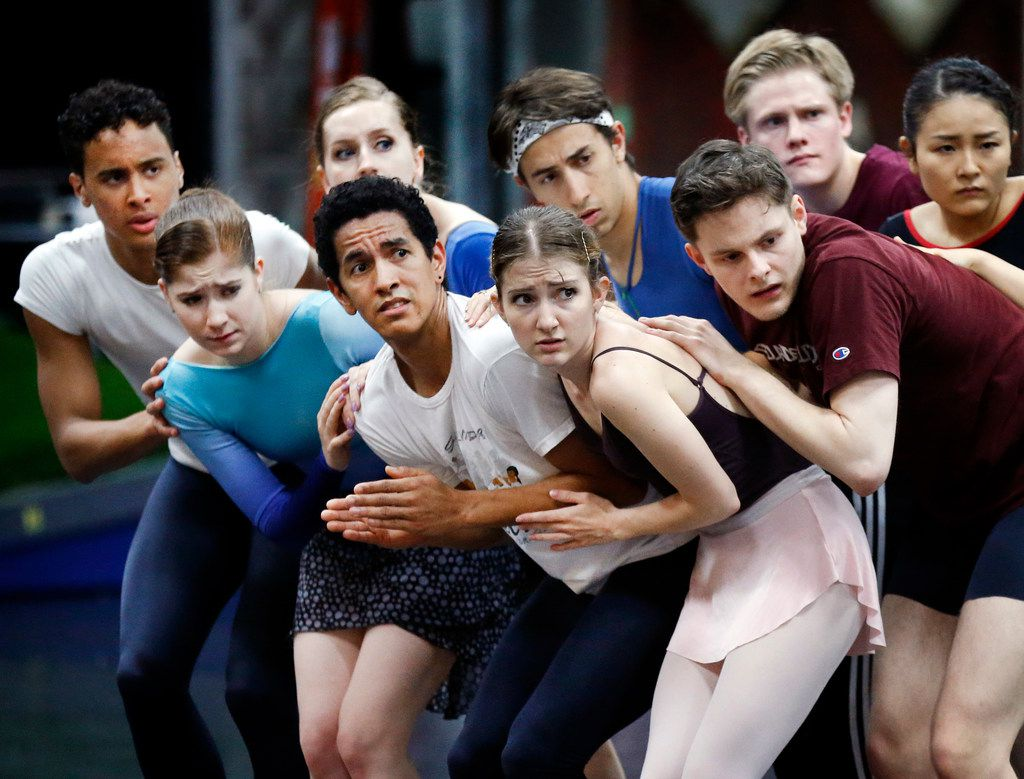 The cast of Pinocchio acts out a scene during rehearsal at Texas Ballet Theater.