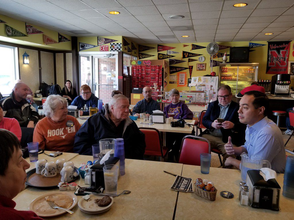 Julián Castro speaks with Democratic voters while stumping for president in Carroll, Iowa, at Sam's Sodas and Sandwiches, on Feb. 22, 2019.