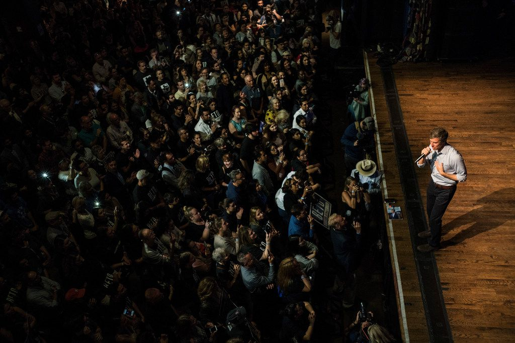Rep. Beto O'Rourke (D-Texas), the Democratic challenger to Sen. Ted Cruz (R-Texas), speaks during an event at the House of Blues in Houston, Nov. 5, 2018. (Todd Heisler/The New York Times)