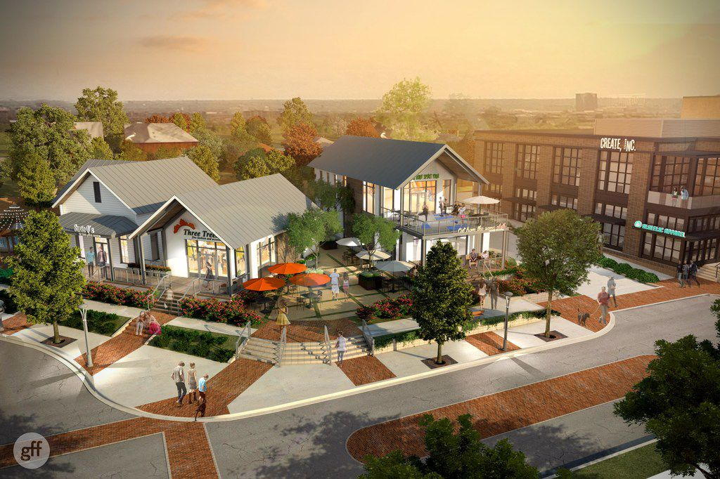 Drawings of bungalow style-buildings planned to be part of a new development coming to Henderson Avenue. Mark Masinter of Dallas-based Open Realty Advisors won approval on April 11, 2018 from the Dallas City Council.