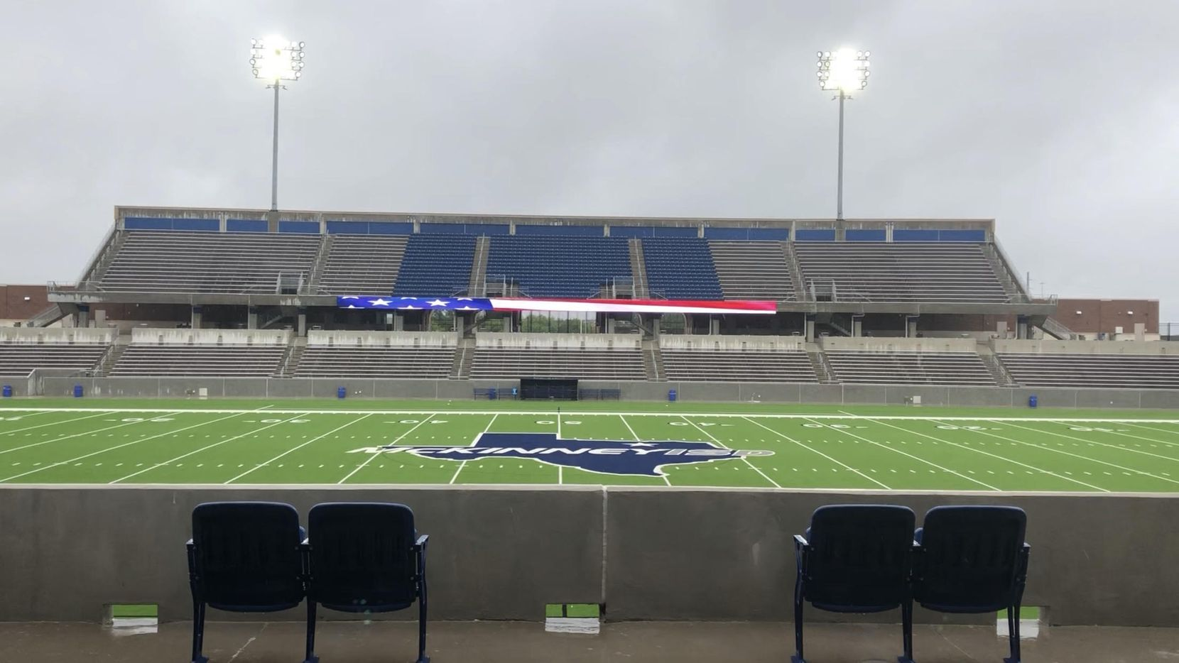 Stormy weather caused delays for the regional final soccer games at McKinney ISD Stadium on April 13, 2019. (Joseph Hoyt)