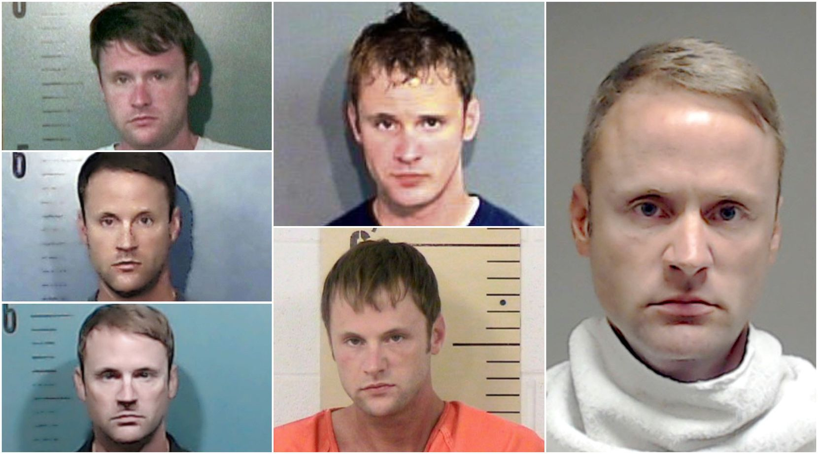 These are some of the jail booking mugs for John Wright Martin, who has been arrested multiple times in Texas. On the left are mugshots from Taylor County in 2013, 2017 and 2018. The center column has mugshots from Brazos County in 2006 and Burnet County in 2010. The far right is Martin's booking mug from Collin County Detention Center after his felony drunken-driving arrest on April 22, 2016. Martin is accused of stealing money while working as a personal assistant for Randy and Kristy Pitchford of Frisco..