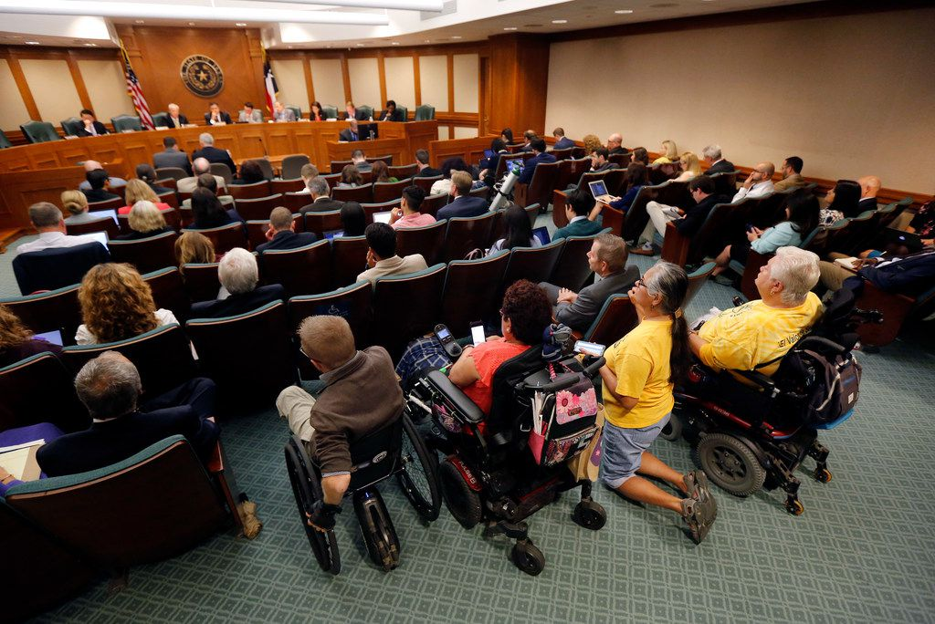 Several people with disabilities attended the Texas House Committee on Human Services meeting in which Linda Badawo of Mesquite, Texas testified at the Texas State Capitol in Austin, Wednesday, June 20, 2018.