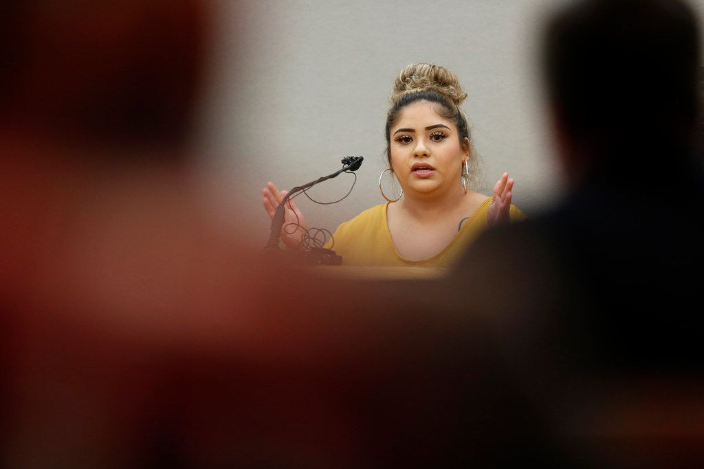 Witness Ashely Cuevas, whose sister rear-ended Roy Oliver two weeks before he shot Jordan Edwards, is cross-examined Friday by a defense attorney.