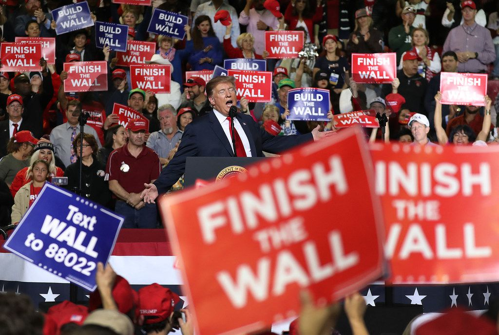 U.S. President Donald Trump speaks during a rally at the  El Paso County Coliseum on Feb. 11, 2019. Trump continues his campaign for a wall to be built along the border as the Democrats in Congress are asking for other border security measures.