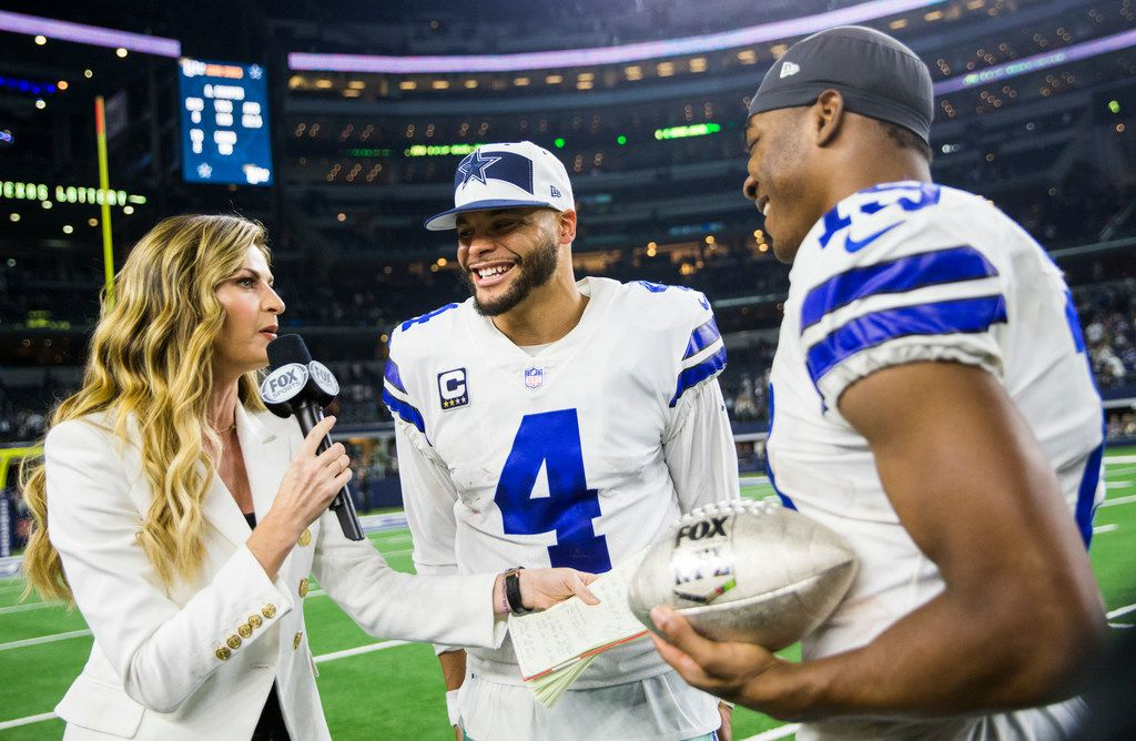 FILE - Cowboys quarterback Dak Prescott (4) and wide receiver Amari Cooper (19) are pictured after the Thanksgiving Day game against Washington on Thursday, Nov. 22, 2018, at AT&T Stadium in Arlington. (Ashley Landis/The Dallas Morning News)
