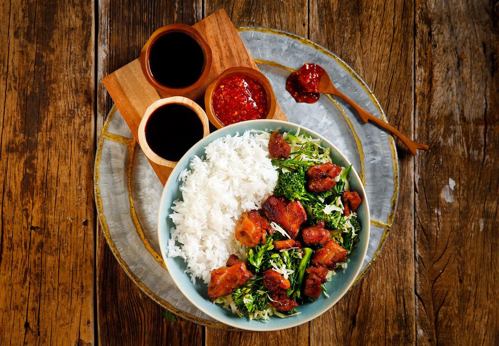 Chicken stir-fry with broccolini, cabbage and baby bok choy.