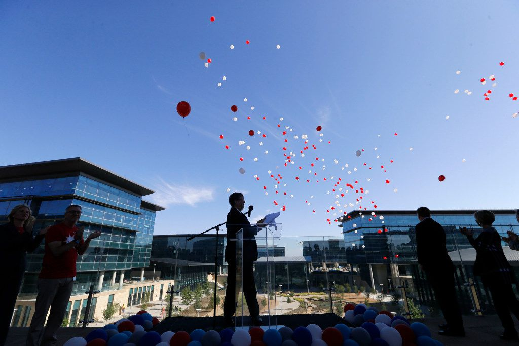 Jim Lentz, CEO of Toyota Motor North America watches balloons float away during a brief ceremony welcoming employees to the new Toyota North American headquarters in Plano on Monday, May 15, 2017. This is the day the first wave of employees reported to the new facility.