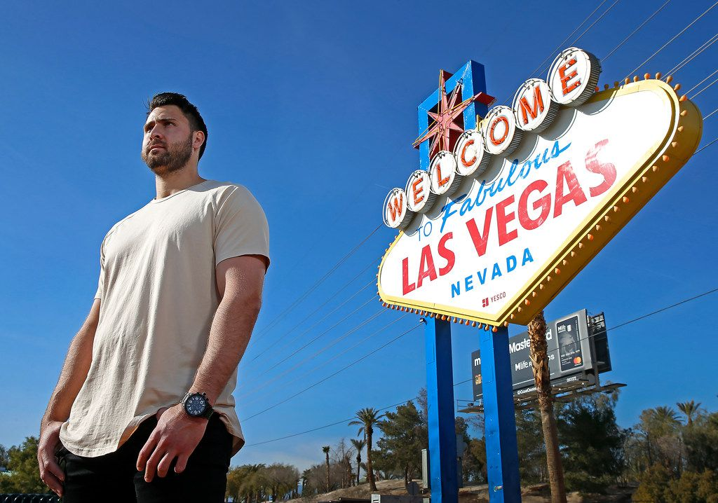 Texas Rangers first baseman Joey Gallo poses for a photograph with the Welcome to Fabulous Las Vegas sign in Las Vegas, Monday, Jan. 15, 2018. (Jae S. Lee/The Dallas Morning News)