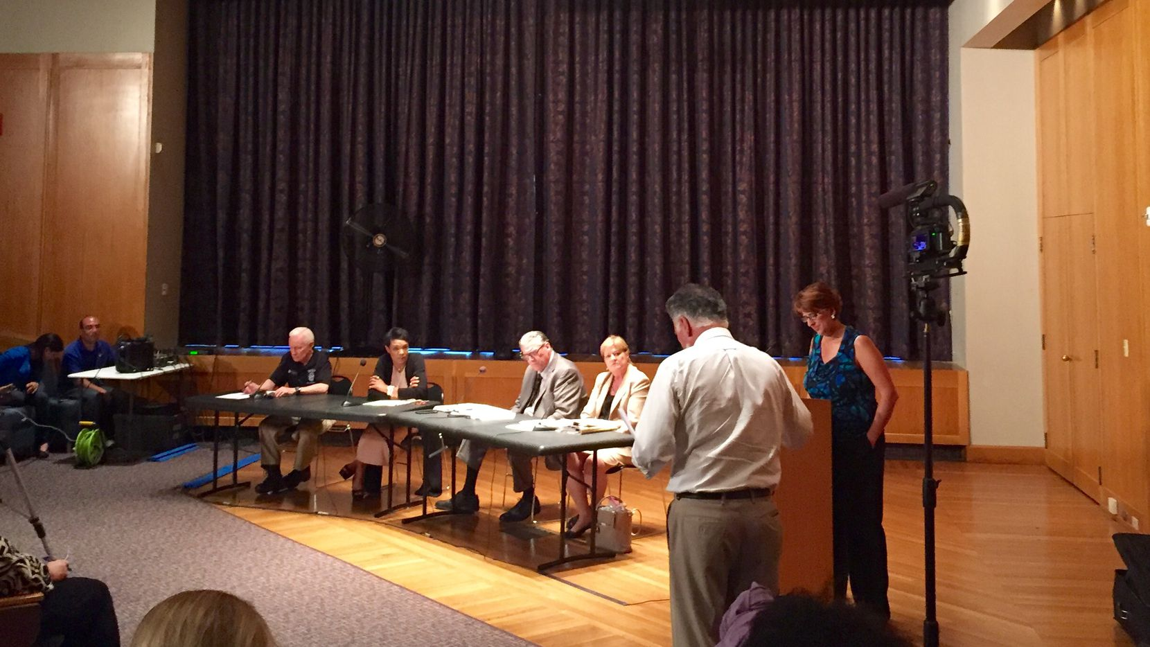 Dallas police crisis intervention supervisor Dave Hogan (left), State District Judge Dominique Collins, Dallas County director of criminal justice Ron Stretcher and Dallas County Commissioner Theresa Daniel took questions from attendees at a community forum on mental health and homelessness Tuesday night at the Dallas Public Library.